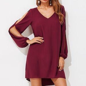 SHEIN | Burgundy Split Sleeve Dress